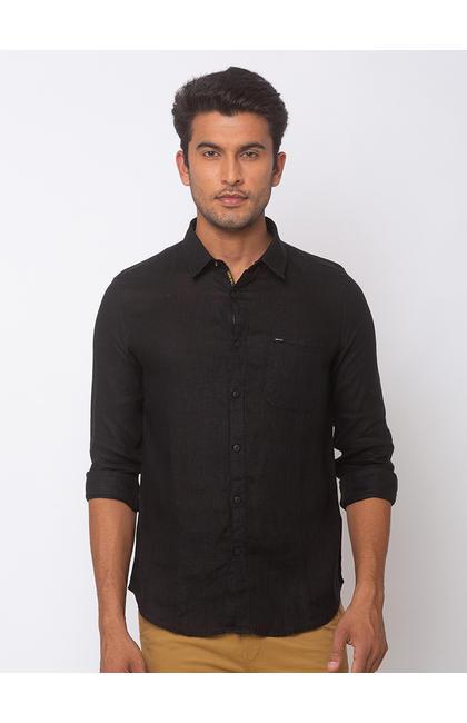 SPYKAR Black Cotton Slim Fit SHIRTS