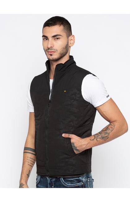 Black Camouflage Regular Fit Front Open Jackets
