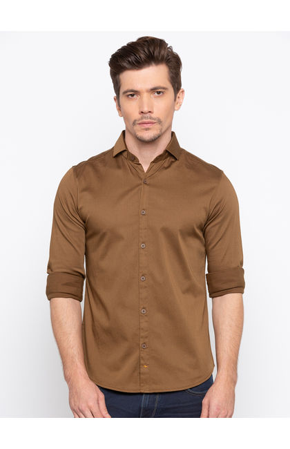 Khaki Solid Slim Fit Casual Shirts