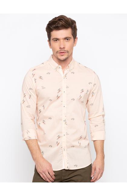 Peach Printed Slim Fit Casual Shirts