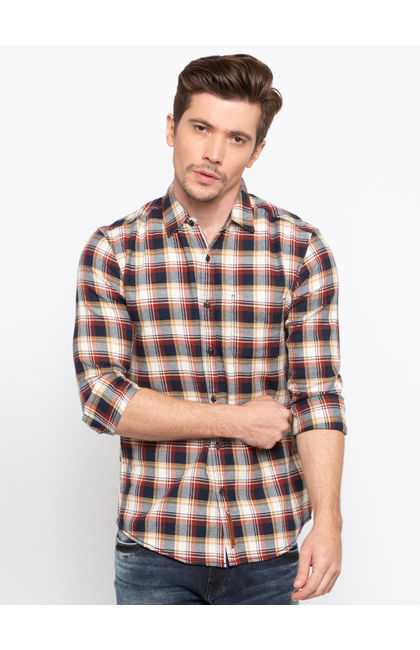 Rust Beige Checked Slim Fit Casual Shirts
