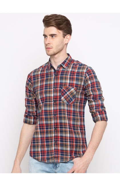 Navy & Olive Checked Slim Fit Casual Shirts