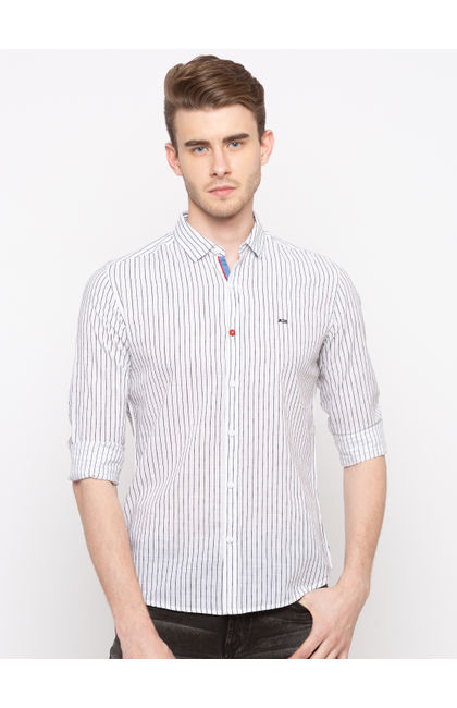 White Striped Slim Fit Casual Shirts