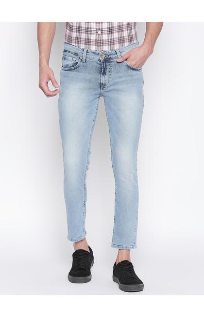 Light Blue Solid Low Rise Jeans