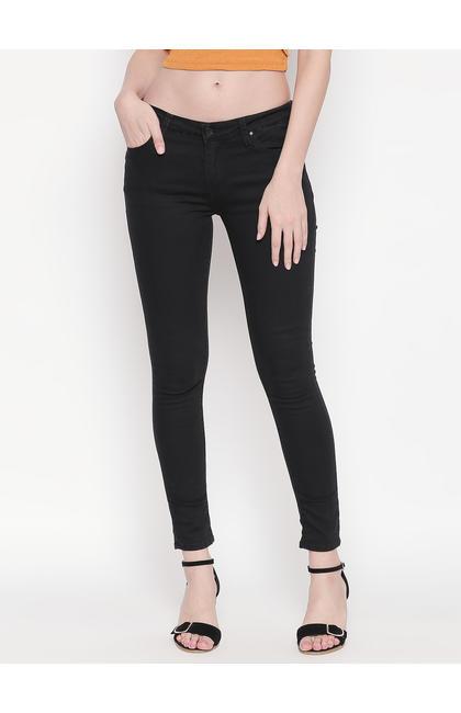 Black Solid Super Skinny Ankle Length Fit Jeans