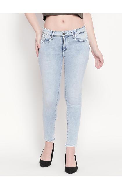 Light Blue Low-rise Waist Super Skinny Fit Jeans