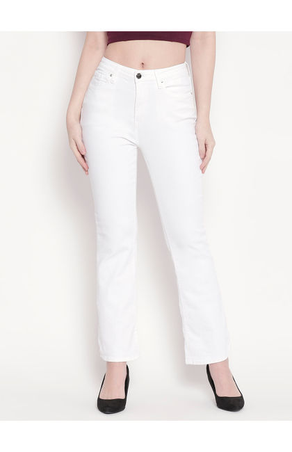 White High-Rise Bootcut Jeans