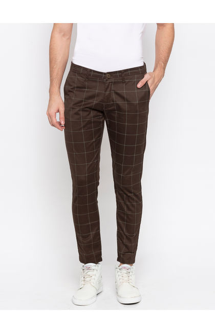 Spykar Brown Cotton Slim Fit Trousers