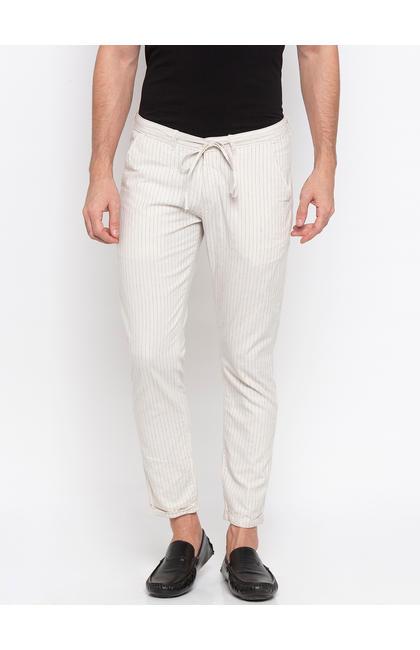 Spykar Ecru Cotton Slim Fit Trousers