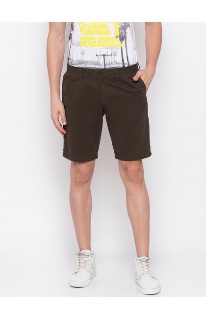 Spykar Olive Cotton Slim Fit Trousers