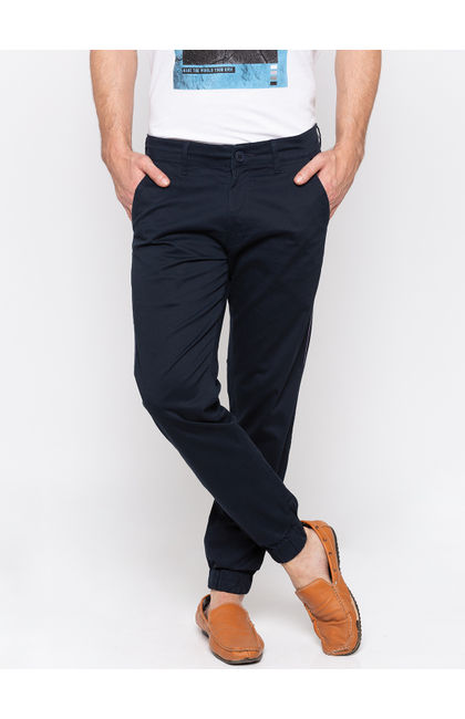 Navy Solid jogger Fit Joggers