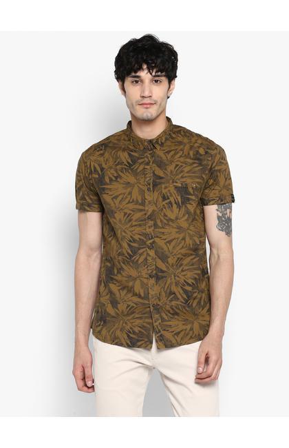 Khaki Printed Casual Shirt