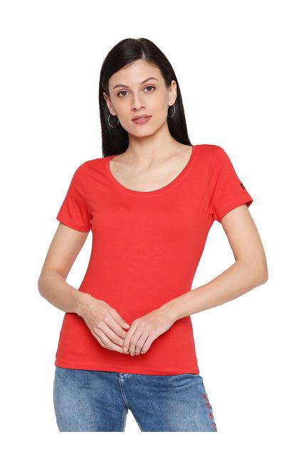 Spykar Cotton Coral T-Shirts