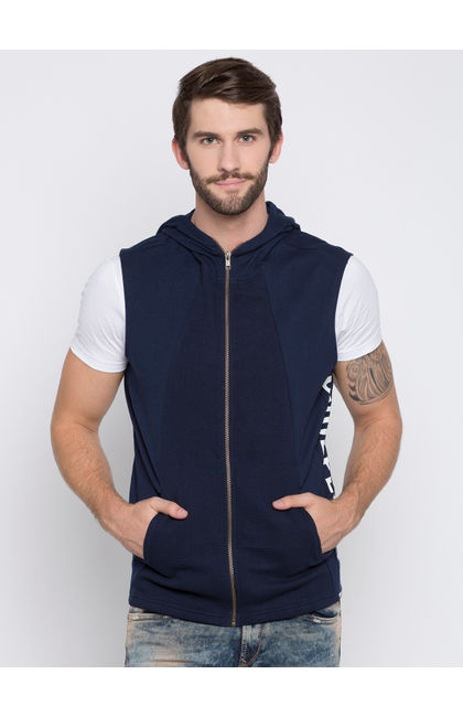 Blue Solid Slim Fit Hoodies