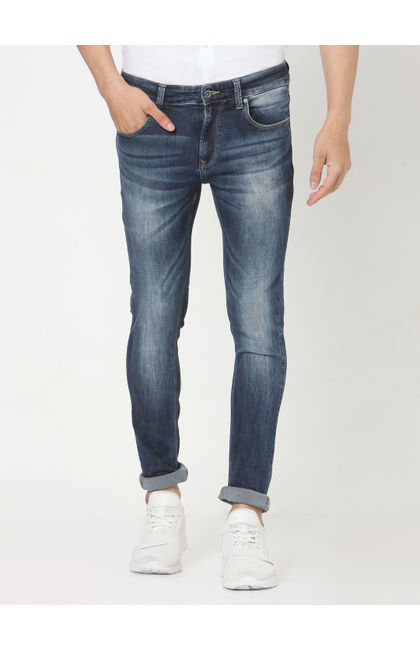 Spykar Blue Cotton Skinny Jeans