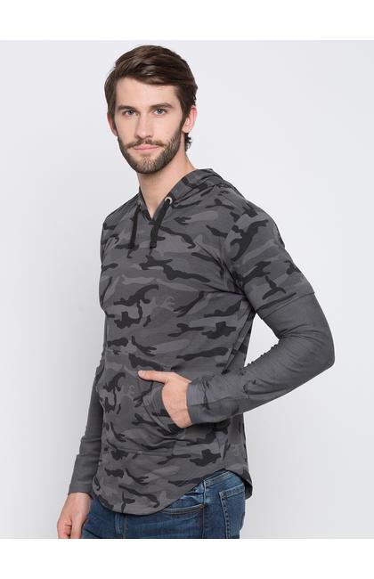 Grey & Black Camouflage Slim Fit Hoodies