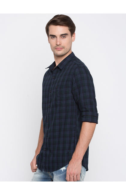 Blue Checked Slim Fit Casual Shirts