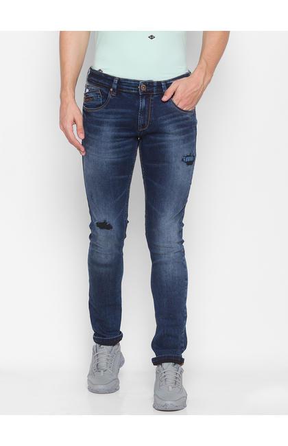 Spykar Blue Cotton Men Jeans (SKINNY)