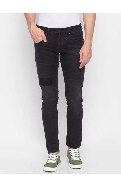Spykar Black Cotton Men Jeans (SKINNY)