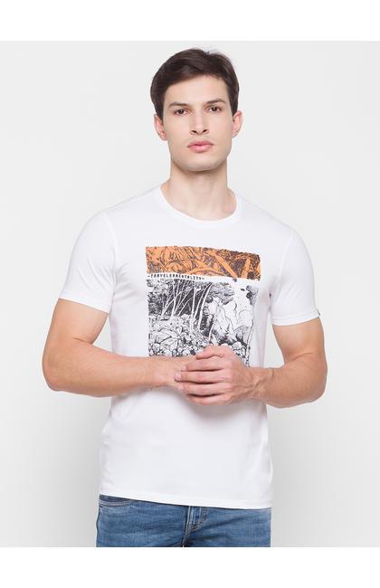 Spykar White Cotton Men T-Shirt