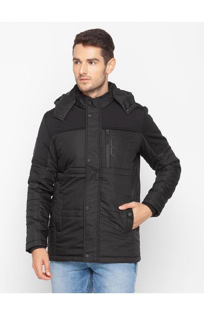 Spykar Black Polyester Men Jacket
