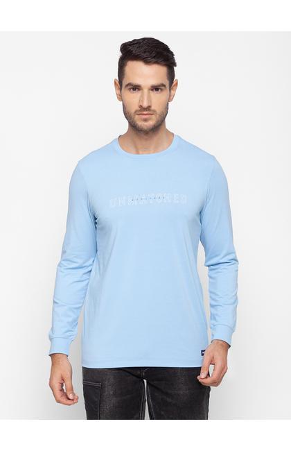 Spykar Blue Cotton Men T-Shirt