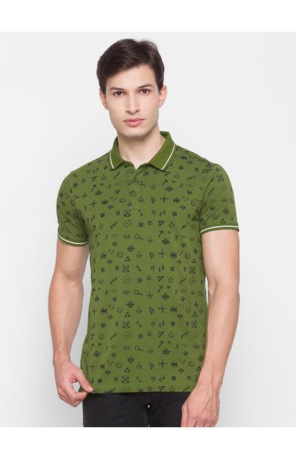 Spykar Green Cotton Men T-Shirt