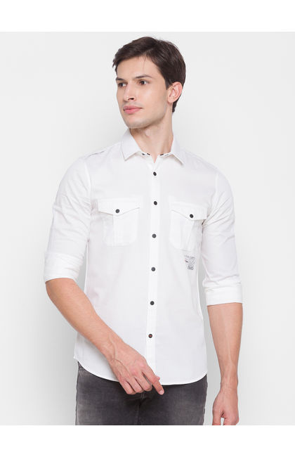 Spykar White Cotton Men Shirt