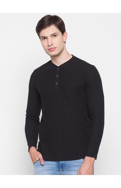 Spykar Black Cotton Men T-Shirt