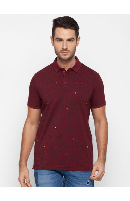 Spykar Red Cotton Men T-Shirt