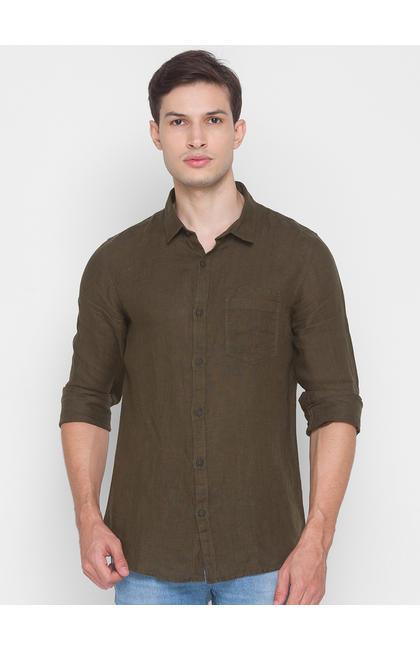 Spykar Green Cotton Men Shirt