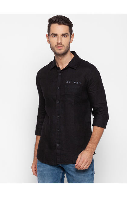 Spykar Black Cotton Men Shirt