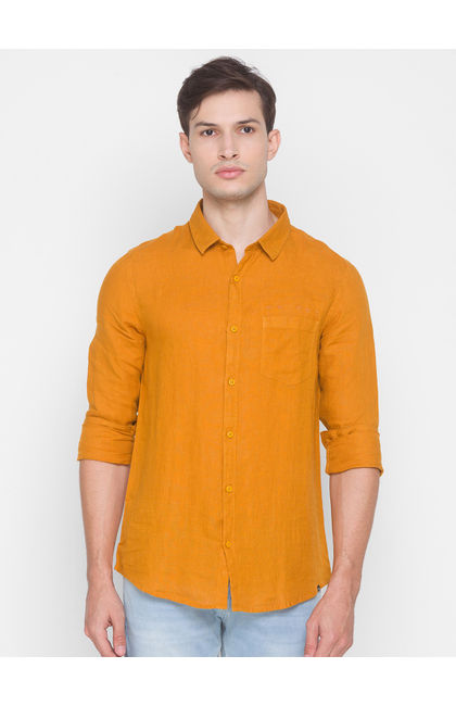 Spykar Yellow Cotton Men Shirt