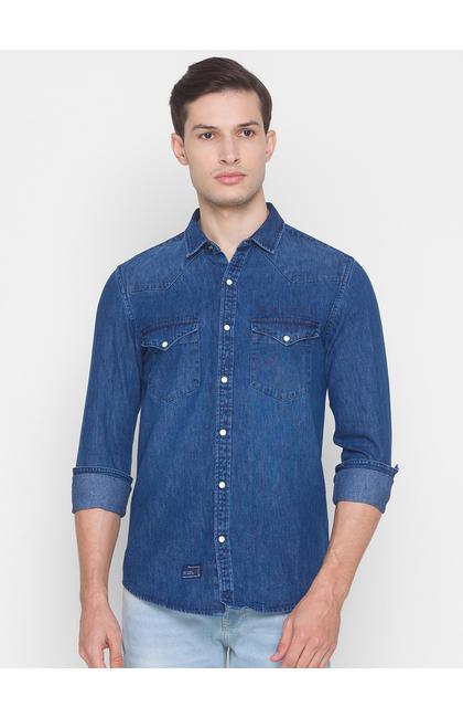 Spykar Blue Cotton Men Shirt