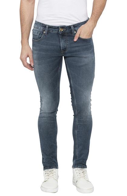 Bluish Grey Solid Super Skinny Fit Jeans