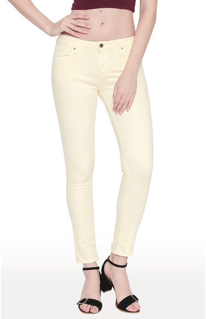 Pale Yellow Solid Super Skinny Ankle Length Fit Jeans
