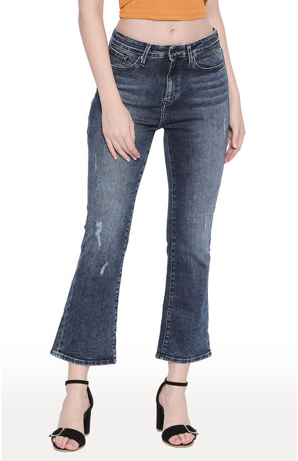 Dark Blue Ripped Boot Cut Ankle Length Flared Jeans