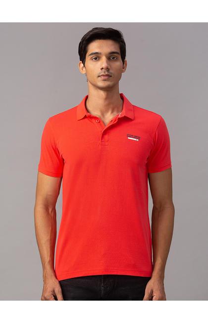 Spykar Orange Cotton Slim Fit T-Shirts (Slim)