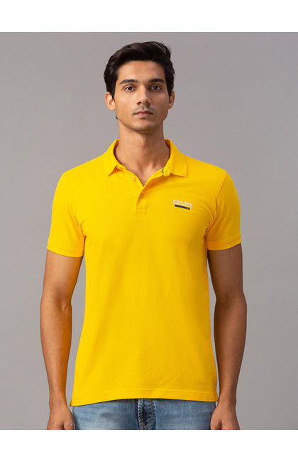 Spykar Yellow Cotton Slim Fit T-Shirts (Slim)