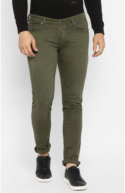 Olive Solid Tapered Jeans
