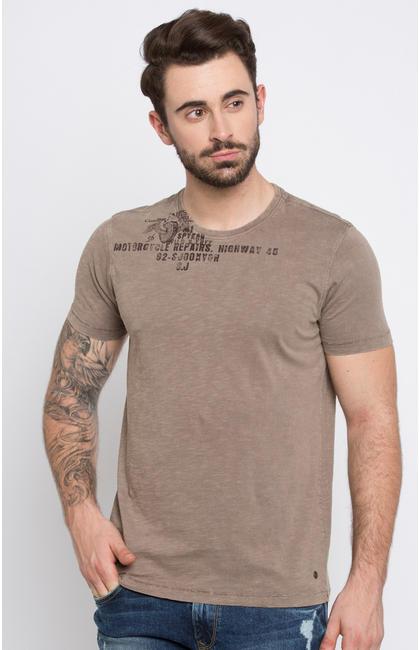 Brown Printed T-Shirt