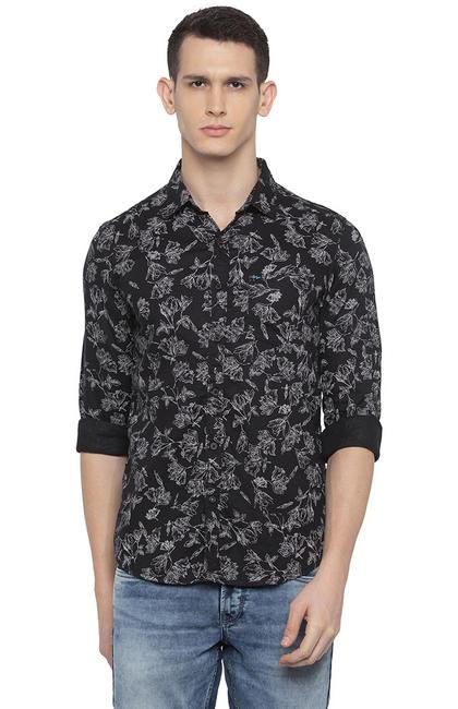 Black Printed Slim Fit Casual Shirt