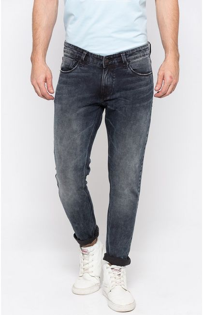 Carbon Black Solid Straight Jeans