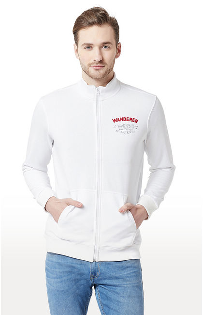 White Solid Slim Fit Front Open Jackets
