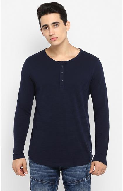 Blue Solid Slim Fit T-Shirts