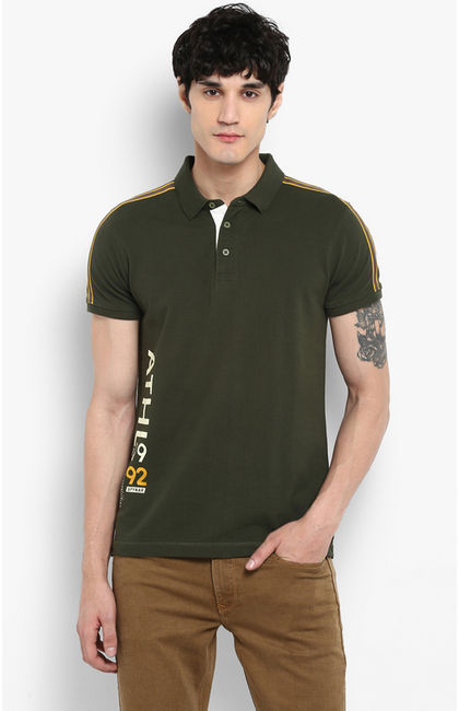 Olive Printed Slim Fit T-Shirts