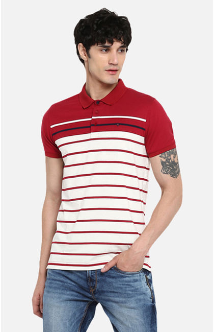 Red Striped Slim Fit T-Shirts