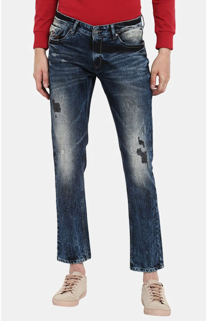 Dark Blue Ripped Slim Fit Jeans