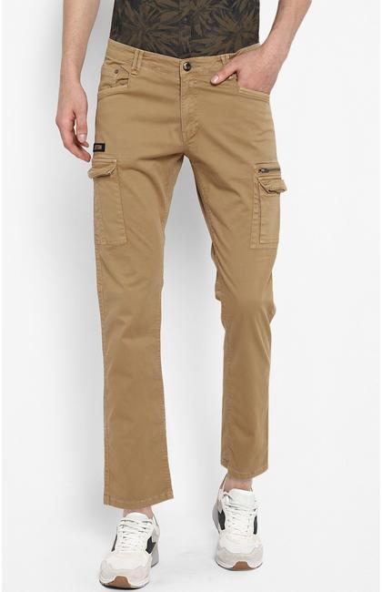 Khaki Solid Slim Fit Chinos