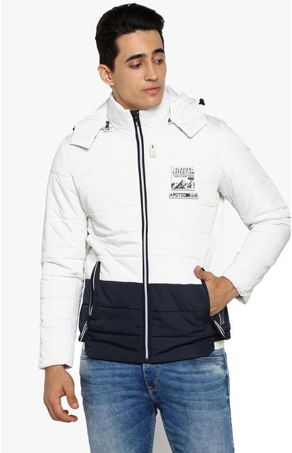 White Colourblock Slim Fit Bomber Jackets